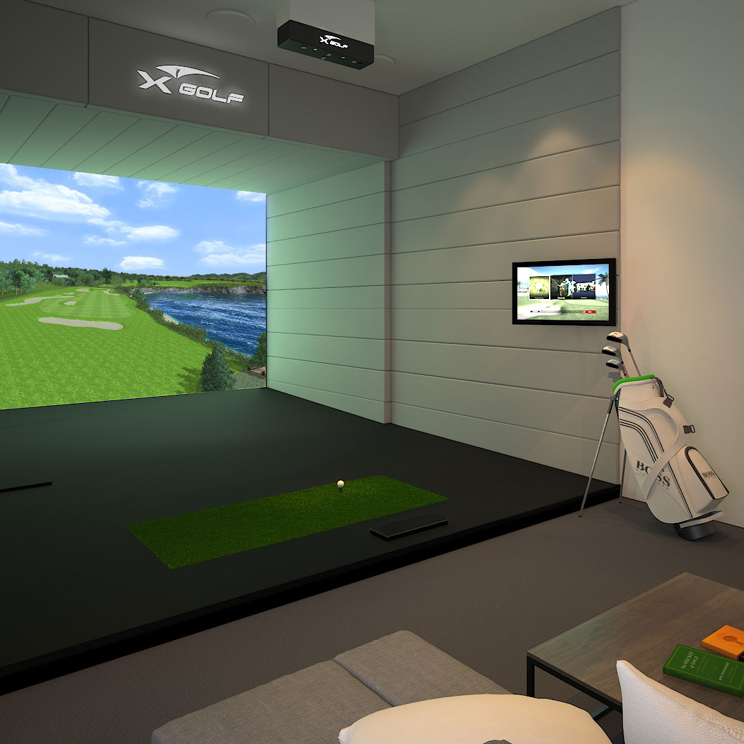 X-Golf Simulator inside Home 3D Render