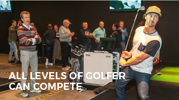 Golfers Playing Indoor Golf Competition