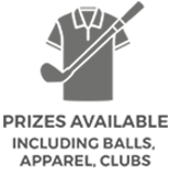 X-Golf Prizes Line Drawing - Shirt, Text and Golf Club