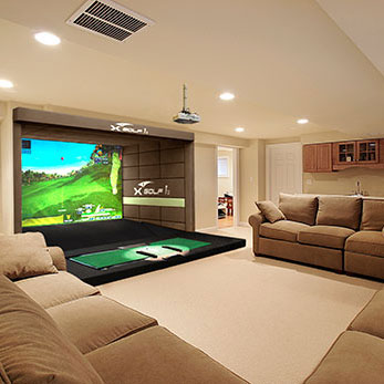 X-Golf Simulator in Home with couches