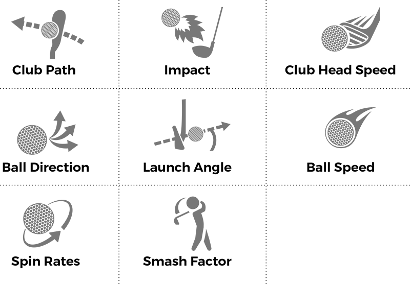 Collections of icons showing X-Golf Simulator Features