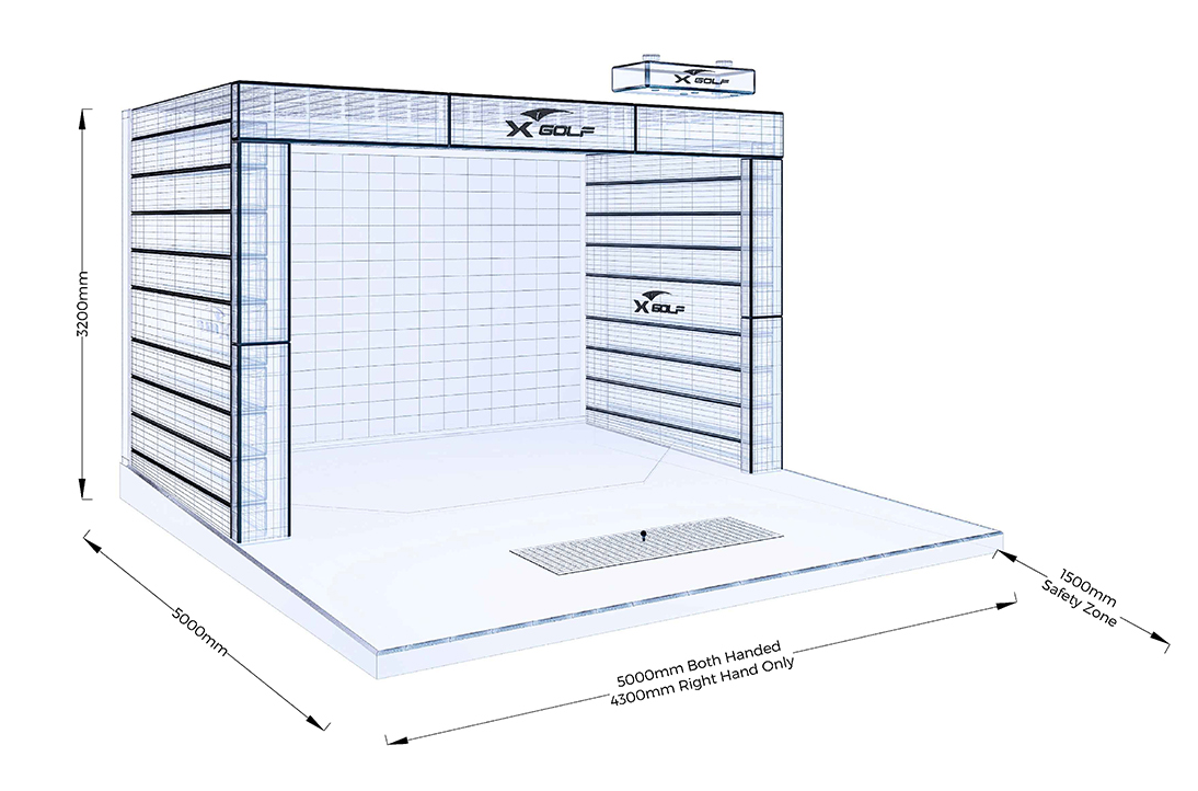 X golf nex advanced technology indoor golf simulator for Golf simulator room dimensions