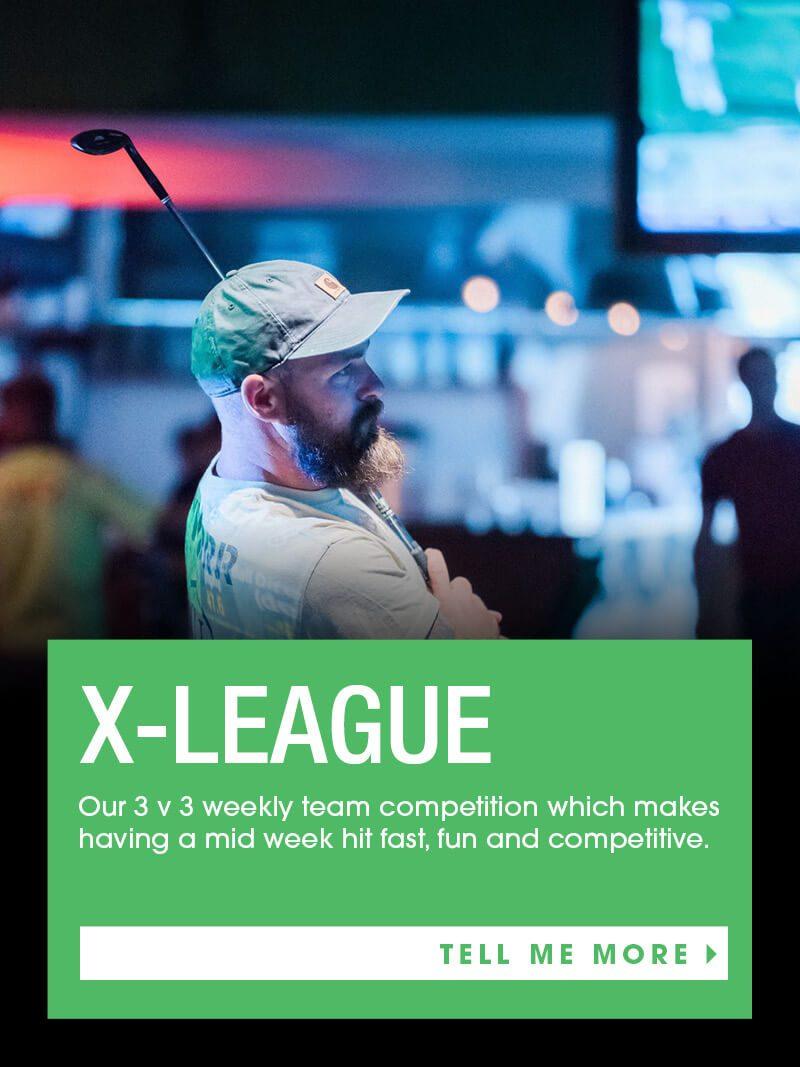 man hitting golf club x-league X-Golf Simulator