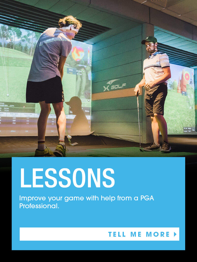 Man teaching man how to swing club X-Golf Lessons