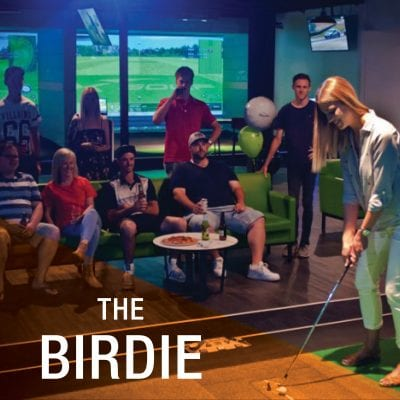 X-Golf event package birdie girl hitting golf ball people watching