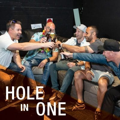 X-Golf events package hole in one men cheers beer